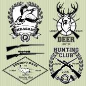 Set of emblems with a deer, hare, pheasant for hunting — Stock Vector