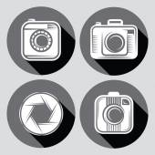 Set of  hipster cameras or web icons with long shadow — Vecteur