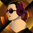 Abstract retro poster with a girl DJ — Stock Vector #65583229