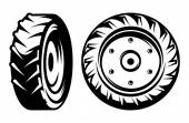 Vector set of monochromatic tractor wheels different kinds — Stock Vector