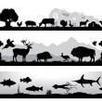 Set of black and white landscapes wildlife, farm, marine life — Stock Vector #69442887