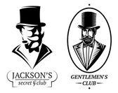 Set vector logo templates for gentlemen's club — Stock Vector
