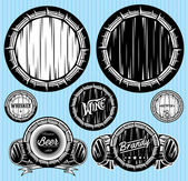 Set of patterns for monochromatic emblems with barrels — Stock Vector