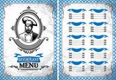 Modèle de menu de restaurant dans un style rétro avec le chef — Vecteur