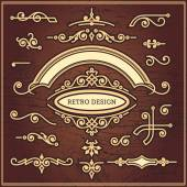 Set of decorative elements in vintage style for design — Stock Vector