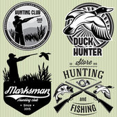 Set of patterns with duck, dip, gun, hunter for hunting emblem — Stock Vector