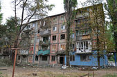 Residential building in a war zone in the Donetsk region, Kharts — Stock Photo