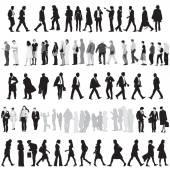 Kolekce siluety lidí — Stock vektor