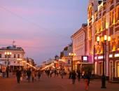 Sunset at main street Nizhny Novgorod — Stock Photo