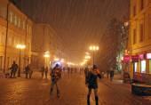 Christmas snow storm at street Bolshaya Porkrovskaya Nizhny Novg — Stock Photo