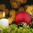 Candle and decoration ball — Stockfoto #56551953