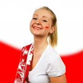 Woman cheers Polish national team. — Stock Photo