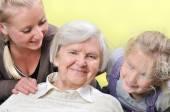 Three woman - three generations. Happy family. — Stock Photo