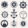 Set of vintage nautical labels, icons and design elements — Stock Vector #55113101