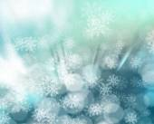 Vector. Winter Blurred Bokeh Background with Glow Snowflakes. Ho — Vecteur