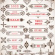 Set of calligraphic design elements: Labels, banners, baroque fr — Stock Vector #57024151