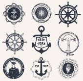 Set of vintage nautical labels — Stock Vector