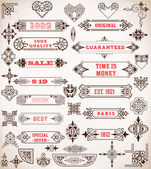 Set of calligraphic design elements: Labels, banners, baroque fr — Stock Vector