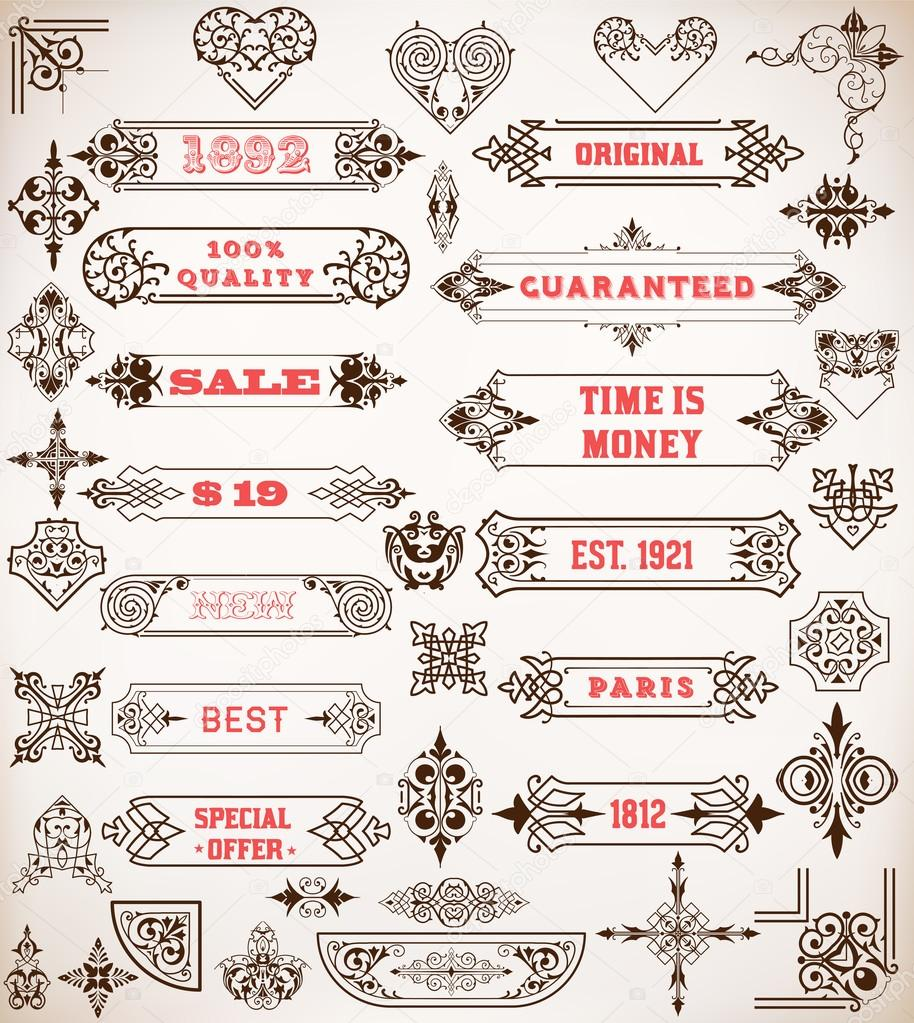 Set of calligraphic design elements labels banners for Baroque architecture elements