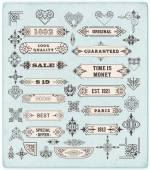 Set of calligraphic design elements: Labels, banners, baroque fr — Stock Photo