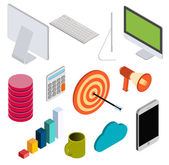 Business isometric elements set . — Stock Vector