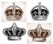 Crowns set. Vector file — Stock Vector