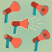 Mégaphone, ensemble de haut-parleur — Vecteur