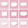 Frame set on seamless patterns in pastel pink. — Stock Vector #65884319
