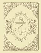 Victorian label with anchor — 图库矢量图片