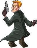Cartoon spy with a gun looking over his shoulder — Stock Vector