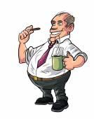 Cartoon office worker having a coffee break — Stock Vector