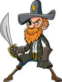 Cartoon pirate with a sabre — Stock Vector