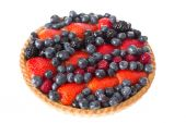Close up Fresh Pie with Assorted Berries on Top — Stock Photo