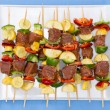 Tasty meat and vegetable kebabs for the BBQ — Stock Photo #67667205