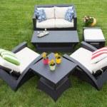 Comfortable deep modern garden furniture — Stock Photo #67886011
