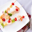 Gourmet Shrimp Skewers or Kebabs on White Plate — ストック写真 #67889667