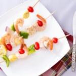 Gourmet Shrimp Skewers or Kebabs on White Plate — Stock Photo #67889667