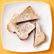 Toast Bread with Strawberry Jam Filling on Plate — Stock Photo #68842893