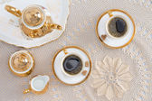 Turkish Coffee for Two on Elegant White Table — Stock Photo