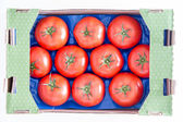 Organic Red Tomatoes on a Tray In a Box — Stock Photo