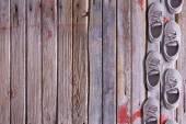 Shoe border on a wood background — Stock Photo
