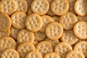Salted Baked Round Crackers for Backgrounds — Stock Photo