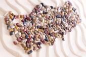 Geografistubbar-Turkiet skapad med stenar på Sand — Stockfoto