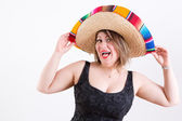 Happy Lady with Mexican Sombrero Looking at Camera — Stock Photo