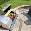Grilling food on an outdoor gas barbecue — Stock Photo #73626239