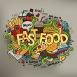 Fast food hand lettering and doodles elements background. — Stock Vector #52602833