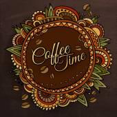 Kaffee zeit schmuckrahmen etikettendesign — Stockvektor