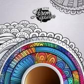 杯咖啡和手画装饰 — 图库矢量图片