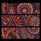Abstract vector ethnic pattern cards set — Stock Vector