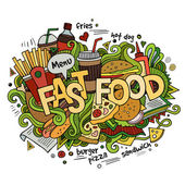 Fast food hand lettering and doodles elements background — Stock Vector